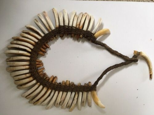 PNG Boar tusk woven necklace