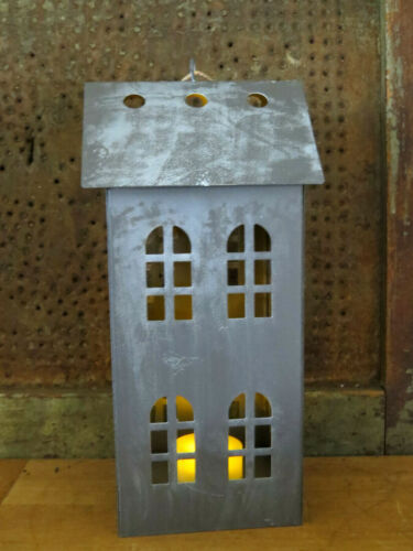 """Colonial Salt Box House Candle Lantern Punched Tin Punch Primitive w Candle 8"""""""