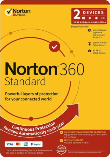 Norton 360 Standard 1 User 2 Devices 1 Year for PC Mac Android + (2 Months FREE)