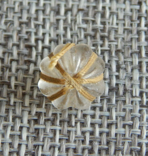 """Antique Vtg Glass Button Thread Wrapped Charm String Apx:7/16""""~#-1204-D"""