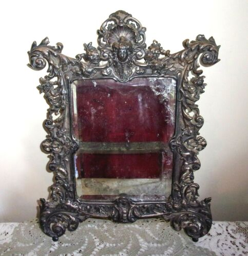 Victorian Style Silver Plate Jenny Lind Head Reticulated Mercury Wall Mirror