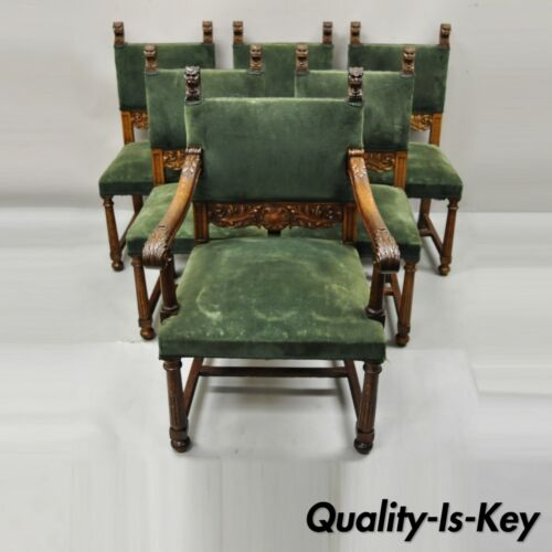 Italian Renaissance Lion Carved Oak Wood Green Mohair Dining Chairs - Set of 6