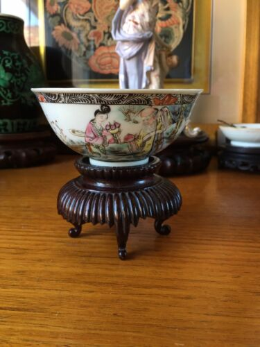 Antique Chinese Republic Famille Rose Porcelain Bowl With Mark