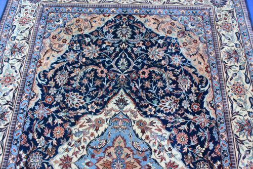 Oriental Rug hand Knotted Indo Isphahan 6x9 Navy Color Nice
