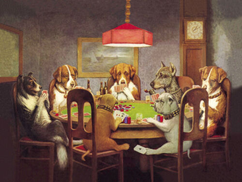 Dog poker Vintage print art poster canvas painting wall décor abstract artwork
