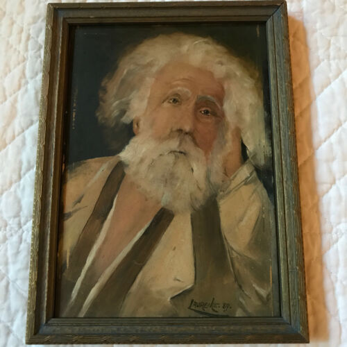 Antique 1889 man portrait original oil painting by Laurence listed artist small