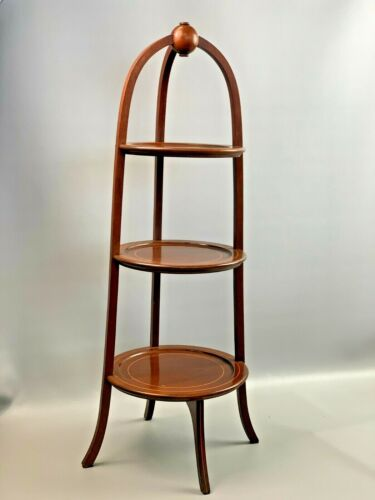 """Antique/Vintage Mahogany Wood Regency Style 3 Tier Muffin Pie Stand 34"""" BIGGS"""