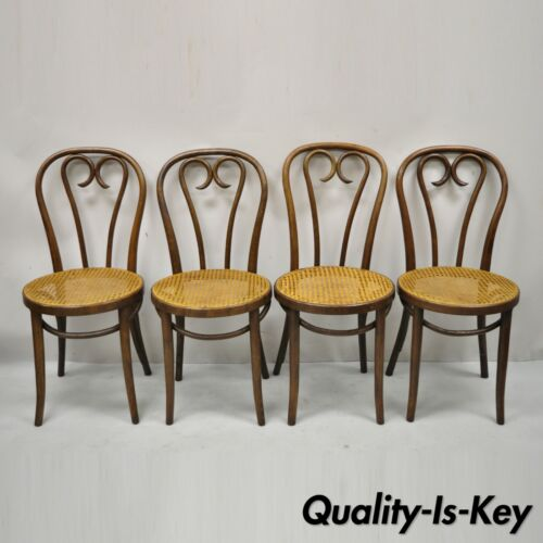Antique Bentwood Round Cane Seat Cafe Bistro Dining Chairs Romania - Set of 4