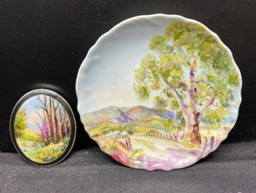 CHINA PAINTER JEAN GORE LANDSCAPE DISH & CAMEO MOUNTED IN STERLING SILVER FRAME.