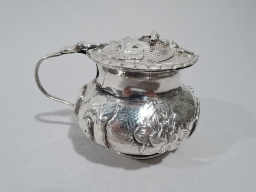 Antique Mustard Pot - Asian China Trade Condiment Water Lilies - Chinese Style