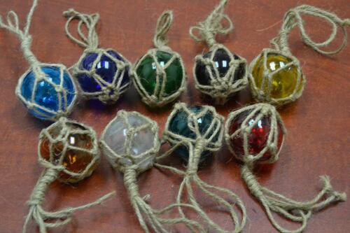 """9 PCS REPRODUCTION GLASS FLOAT BALL WITH FISHING NET 2"""""""