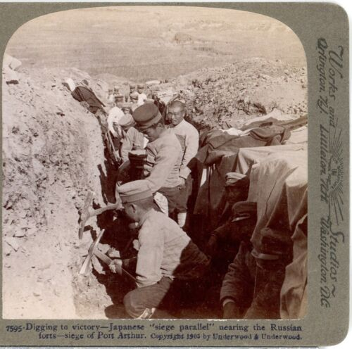 RUSSO-JAPANESE WAR, Digging to Victory, Siege of Port Arthur--Stereoview H47