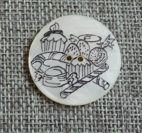 """Antique Vtg  Button Mother of Pearl Etched w/ Bakery Sweets~Apx:1-1/8""""~#1312-E"""