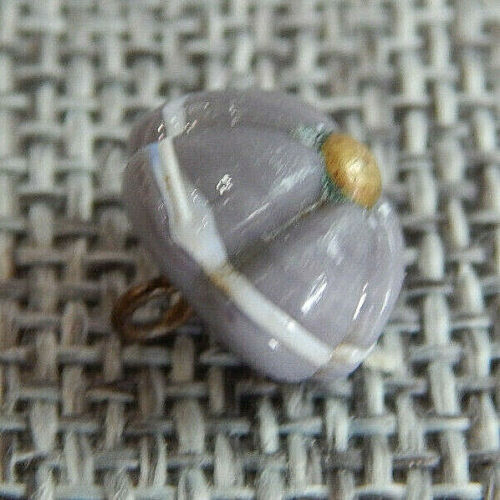 """Antique Vtg Pin Shank Glass Button Charmstring Swirl Back~Apx:7/16""""~#1521-A"""
