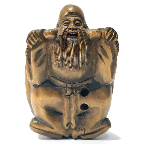 """Y7506 - 2"""" Hand Carved Boxwood Netsuke : Turtle General"""