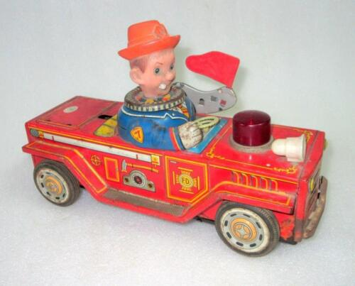 Vintage Old Fire Department Car Battery Operated Modern Toy Trade mark Co. Japan