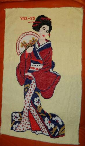 VINTAGE Yas 85 Beautiful Needlepoint Tapestry Knitted Geisha Wall Hanging ART