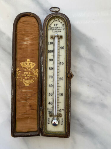 Antique English Thermometer Leather Case Callaghan & Co London England