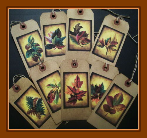 FALL LEAVES PRIMITIVE HANG TAGS - SET OF NINE ANTIQUE STYLE DESIGNS