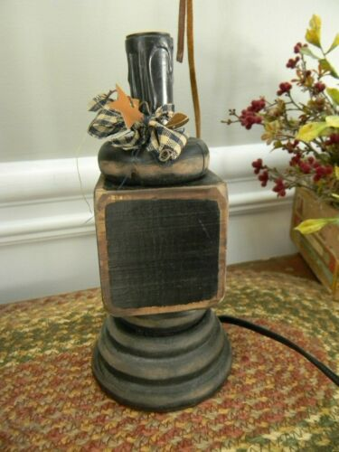 """7 1/2"""" Sanded Black Wooded Electric Lamp Primitive Colonial Country Farmhouse"""