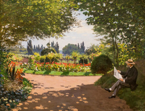 Claude Monet in the Garden of Le Coteau at Sainte Adresse, Giclee Canvas Print