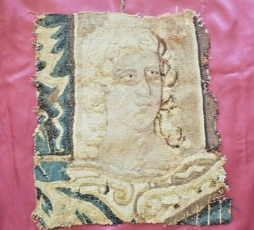 A Wool & Silk 17th Century Tapestry Fragment With Head of a Gentleman