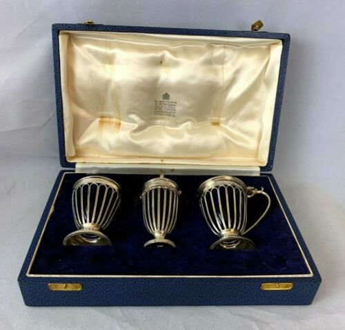 1905 Garrard & Co Solid Sterling Silver 3 Piece Condiment Set with Box