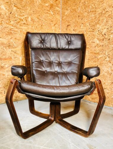 """VINTAGE SCANDINAVIAN  """"VIKING"""" CHAIR  IN COCO LEATHER 1970,s"""