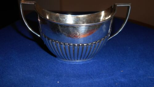 Antique sterling silver 2 handled sugar/cream bowl 1912 London Reeded / fluted