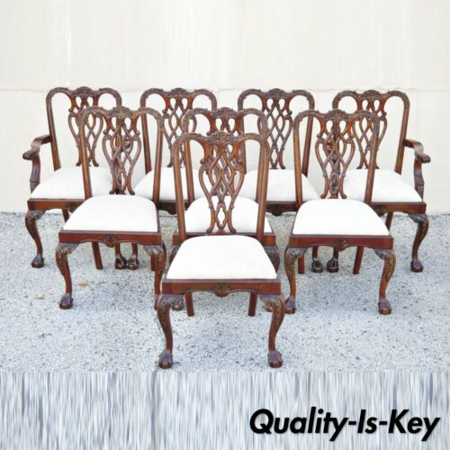 English Chippendale Style Carved Mahogany Ball & Claw Dining Chairs - Set of 8
