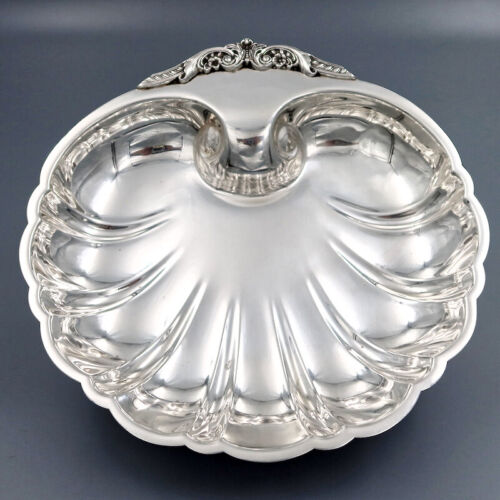 """ANTIQUE VINTAGE AMERICAN STERLING SILVER SERVING BOWL CENTERPIECE DISH SHELL 9"""""""