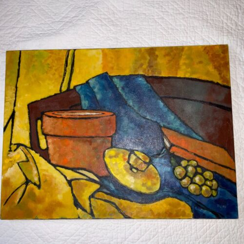 VINTAGE mod modern hand painted original oil PAINTING abstract by Polson