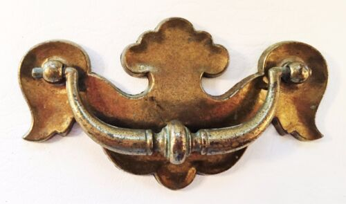 """Brass Colonial Chippendale Batwing Drawer Pull Antique Hardware 3 3/4"""" Centers"""