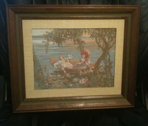 """Vintage Tapestry Women In A Boat Wooden Framed 17""""x14"""" Wall Hanging"""