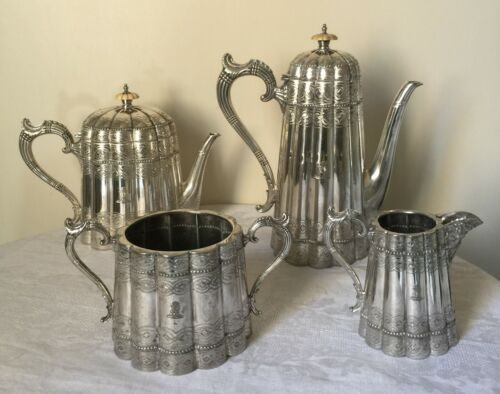 ANTIQUE WALKER & HALL FOUR PIECE A1 SILVER PLATE TEA AND COFFEE SET C.1880