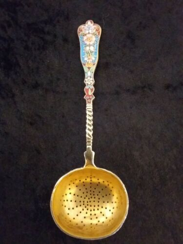 RUSSIAN SILVER AND ENAMEL SUGAR SIFTER LADLE