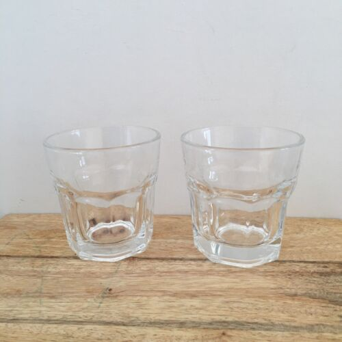 Drinking Cups Glass Short x 2 Clear Whiskey Coffee Iced Espresso Kitchen Water