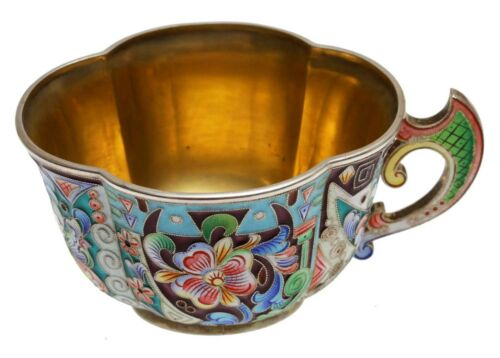 RARE ANTIQUE RUSSIAN SILVER and ENAMELLED TEA CUP, 19 CENTURY