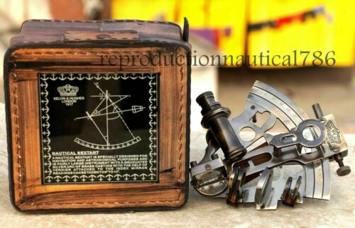 Brass Antique Style Nautical Astrolabe German Marine Sextant W/Leather Box Gift