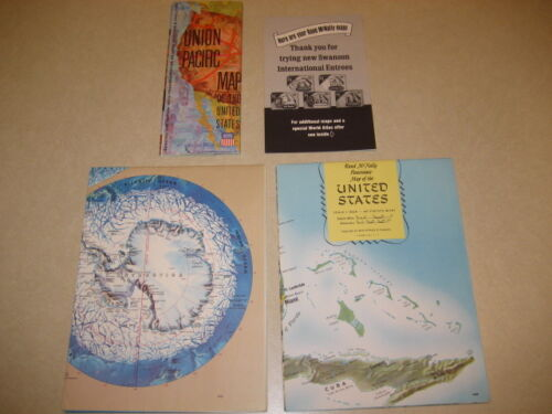 1971 Maps Rand McNally US, Panoramic World Map + Union Pacific Map Lot 3 Vintage