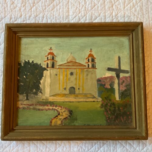 VINTAGE 50s Santa Barbara Mission original PAINTING hand painted by Mienel