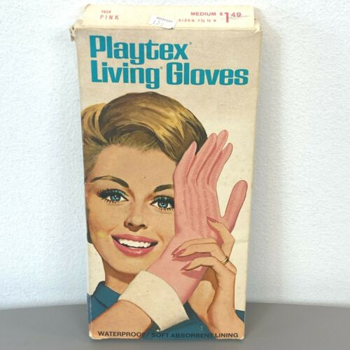 Vintage Playtex Living Gloves dated 1967 Pink size M w/ Box Cleaning PLS READ AC