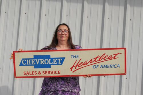"""Large Vintage Chevrolet Sales & Service Heartbeat America Gas Oil 44"""" Metal Sign"""