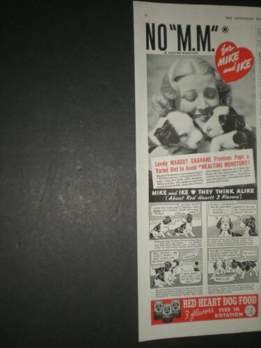 1938 ACTRESS MARGOT GRAHAME 2 PUPPIES MIKE IKE RED HEART DOG FOOD trade print ad