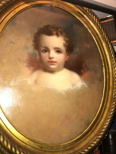 Gorgeous antique oil painting of a child could be by Thomas  Sully  !!
