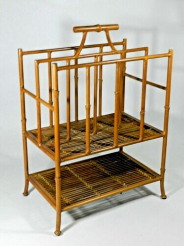 Vintage Iron Faux Bamboo Chinese Chippendale Style Magazine Rack