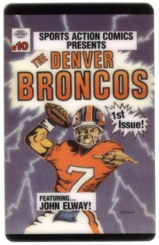 $10. Sports Action Comics 1st Issue: Denver Broncos & John Elway USED Phone Card