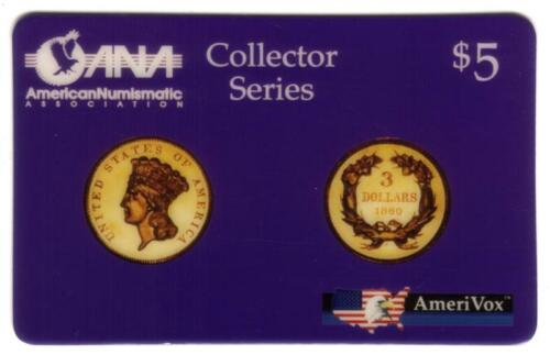 $5. ANA Card (Design of 1860 $3. Gold Coin) July 25, 1993 Issue USED Phone Card