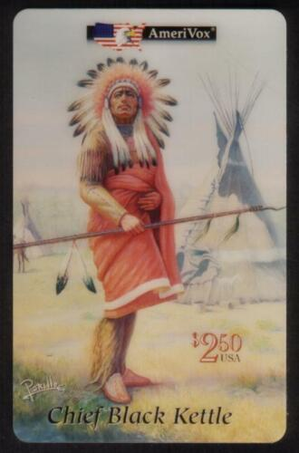 $2.50 Chief Black Kettle: Native American Artwork by Perillo USED Phone Card