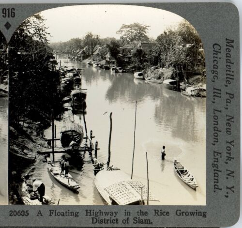 THAILAND, A Floating Highway --#916 Keystone Stereoview Rare 1200 Card Set